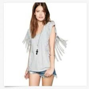 FREE PEOPLE GRAY FANTASY FRINGE TOP SIZE MEDIUM